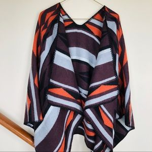 tribal print large blanket shawl open front